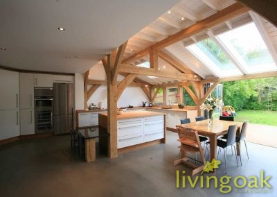 Oak frame extension with lighter, family living space