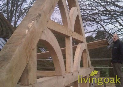 The Barn front truss curved without purlins