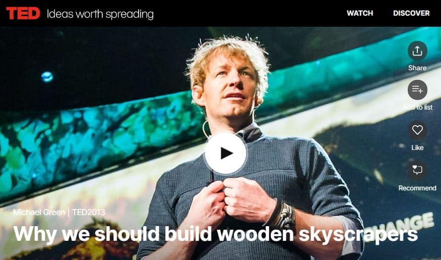 TED Talk – Why we should build wooden skyscrapers