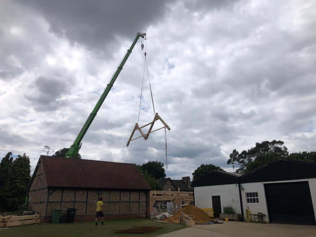 Oak frame crane in Surrey