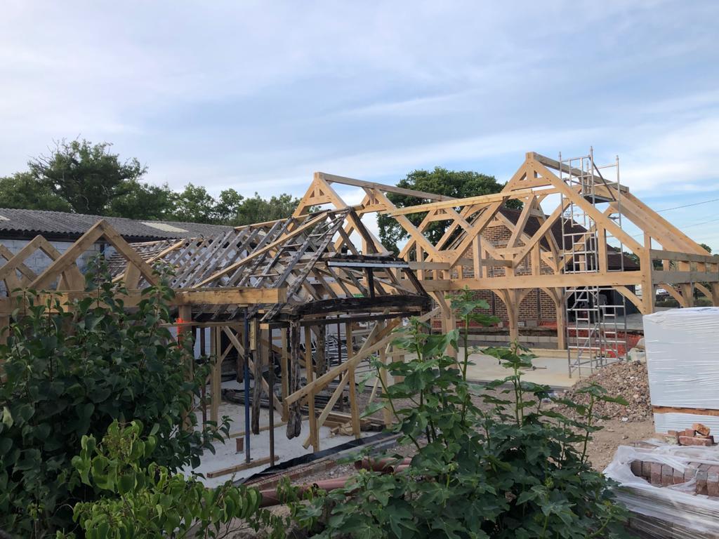 old oak frame and new oak frame in Surrey