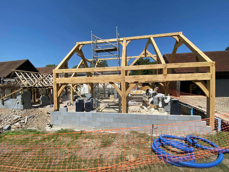 Raising the oak frame in Surrey